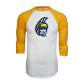 White/Gold Raglan Baseball T-Shirt-Spartan Head