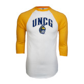 White/Gold Raglan Baseball T-Shirt-Arched UNCG w/Spartan Distressed