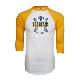 White/Gold Raglan Baseball T-Shirt-Basball Ball Design