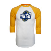 White/Gold Raglan Baseball T-Shirt-UNCG Shield Distressed