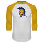 White/Gold Raglan Baseball T Shirt-Spartan Logo