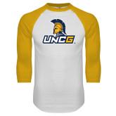 White/Gold Raglan Baseball T Shirt-Lock Up