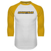 White/Gold Raglan Baseball T Shirt-Spartans Wordmark
