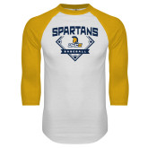 White/Gold Raglan Baseball T Shirt-Baseball Plate