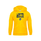 Youth Gold Fleece Hood-Game Set Match - Tennis Design