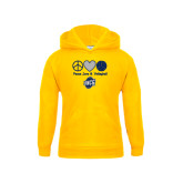 Youth Gold Fleece Hood-Peace, Love and Volleyball Design