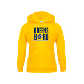 Youth Gold Fleece Hood-Greensboro Stacked with Shield