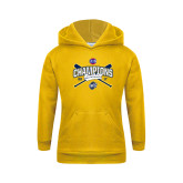 Youth Gold Fleece Hoodie-Baseball SoCon Champions 2017 - Crossed Sticks