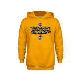 Youth Gold Fleece Hoodie-2018 Mens Basketball Champions - Brush