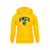 Youth Gold Fleece Hoodie-Arched UNCG w/Spartan