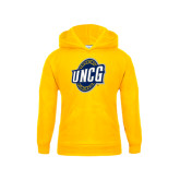 Youth Gold Fleece Hood-UNCG Shield