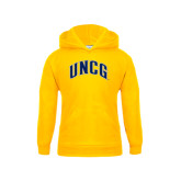 Youth Gold Fleece Hood-Arched UNCG