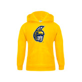 Youth Gold Fleece Hood-Spartan Head