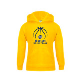 Youth Gold Fleece Hood-Stacked Basketball