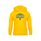 Youth Gold Fleece Hoodie-Arched Basketball Design