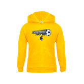 Youth Gold Fleece Hoodie-Soccer Ball Design