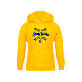 Youth Gold Fleece Hood-Softball Ball Design