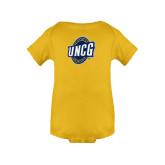 Gold Infant Onesie-UNCG Shield