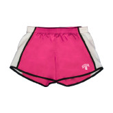 Ladies Fuchsia/White Team Short-Arched UNCG w/Spartan