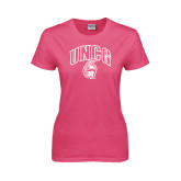 Ladies Fuchsia T Shirt-Arched UNCG w/Spartan