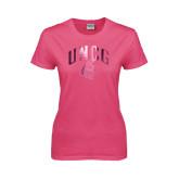 Ladies Fuchsia T Shirt-Arched UNCG w/Spartan Foil