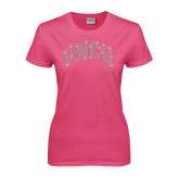Ladies Fuchsia T Shirt-UNCG Rhinestones