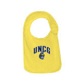Yellow Baby Bib-Arched UNCG w/Spartan