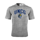 Performance Grey Heather Contender Tee-Arched UNCG w/Spartan
