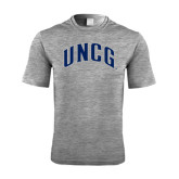 Performance Grey Heather Contender Tee-Arched UNCG
