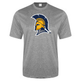 Performance Grey Heather Contender Tee-Spartan Logo
