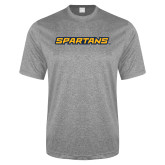 Performance Grey Heather Contender Tee-Spartans Wordmark