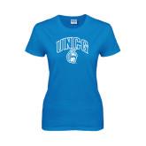Ladies Sapphire T Shirt-Arched UNCG w/Spartan