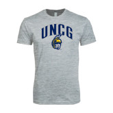 Next Level SoftStyle Heather Grey T Shirt-Arched UNCG w/Spartan