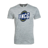 Next Level SoftStyle Heather Grey T Shirt-UNCG Shield
