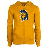 ENZA Ladies Gold Fleece Full Zip Hoodie-Spartan Logo