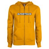 ENZA Ladies Gold Fleece Full Zip Hoodie-Spartans Wordmark