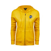 ENZA Ladies Gold Fleece Full Zip Hoodie-UNCG Shield