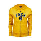 ENZA Ladies Gold Fleece Full Zip Hoodie-Arched UNCG w/Spartan