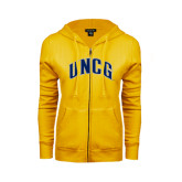 ENZA Ladies Gold Fleece Full Zip Hoodie-Arched UNCG
