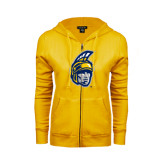 ENZA Ladies Gold Fleece Full Zip Hoodie-Spartan Head