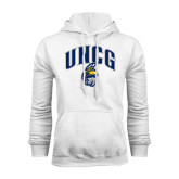 White Fleece Hoodie-Arched UNCG w/Spartan