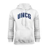 White Fleece Hoodie-Arched UNCG