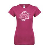 Ladies SoftStyle Junior Fitted Fuchsia Tee-UNCG Shield