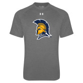 Under Armour Carbon Heather Tech Tee-Spartan Logo
