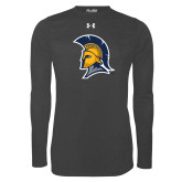 Under Armour Carbon Heather Long Sleeve Tech Tee-Spartan Logo