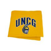 Gold Sweatshirt Blanket-Arched UNCG w/Spartan