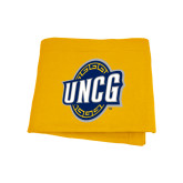 Gold Sweatshirt Blanket-UNCG Shield