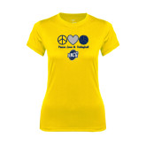 Ladies Syntrel Performance Gold Tee-Peace, Love and Volleyball Design