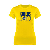 Ladies Syntrel Performance Gold Tee-Greensboro Stacked with Shield