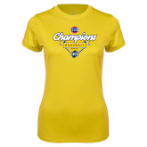 Ladies Syntrel Performance Gold Tee-Baseball SoCon Champions 2017 - Banner w/ Plate